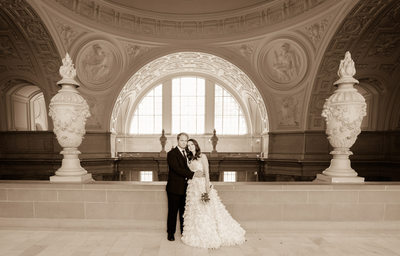 sepia wedding photographer with SF City Hall Architecture
