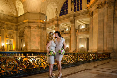 brides kissing san francisco same-sex