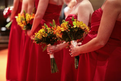 girls bouquets red