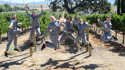 Jumping Groomsman at Garre Vineyards in Livermore Wine Country