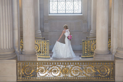 San Francisco City Hall Wedding Photographers - Bride's Dress
