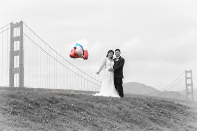 Golden Gate Bridge Wedding Photography with Asian Newlyweds