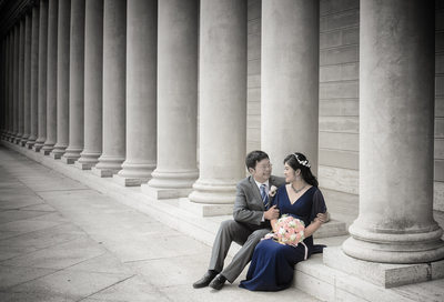 Precious Moment at the Legion of Honor with Newlywed Asian Couple