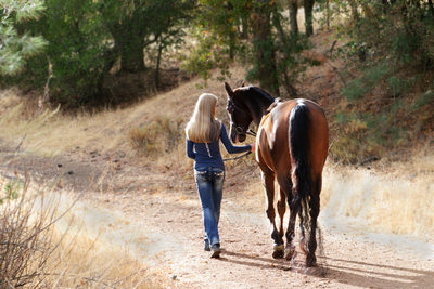 Girl and Horse Walking away in Beautiful Natural Light