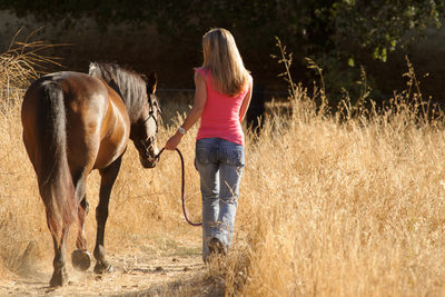 Horse  Owner  Walking in the brush in Danville, California