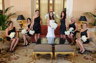 Bridesmaids posing for wedding - San Francisco Fairmont Hotel
