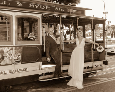 City Hall Wedding Photography - then the Cable Car in San Francisco