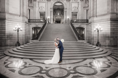 The Grand Staircase at SF city hall - Black and White Wedding Photography