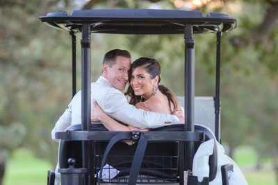 Boundary Oaks Wedding Picture in Golf Cart