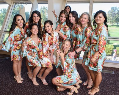 Bride with Bridesmaids at San Francisco Bay Area Wedding prep