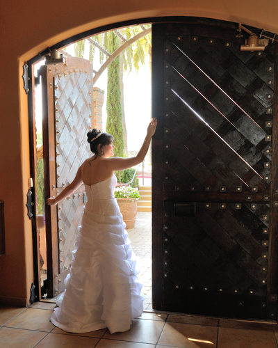 gorgeous bride in cellar doorway at the Palm Event Center in Pleasanton, California