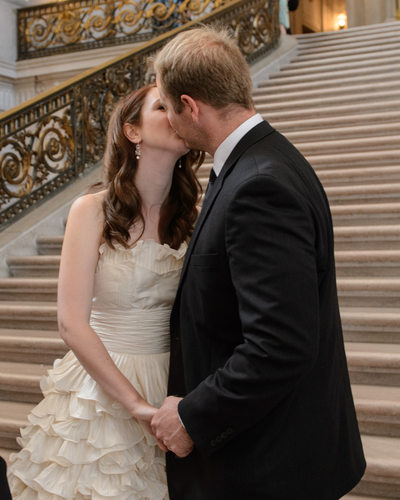 San Francisco City Hall Wedding Ceremony - The First Kiss