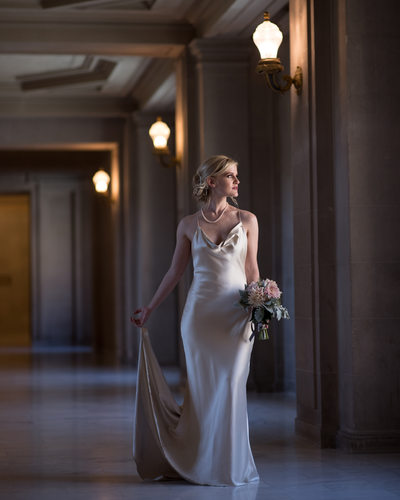 San Francisco City Hall Wedding Photographers Dramatic Bride