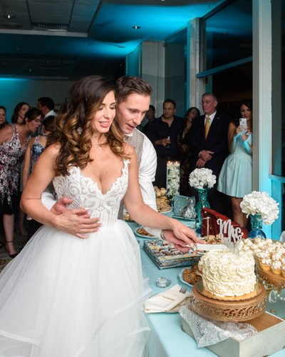 Newlyweds Cutting the Cake at their Walnut Creek Reception
