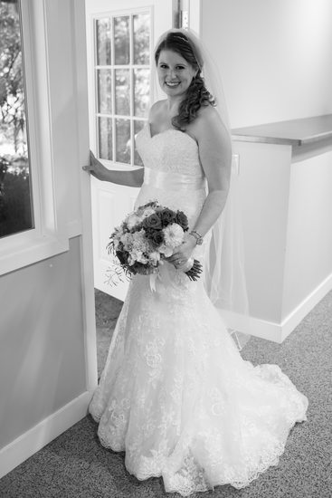 Marin County bride posing by the door