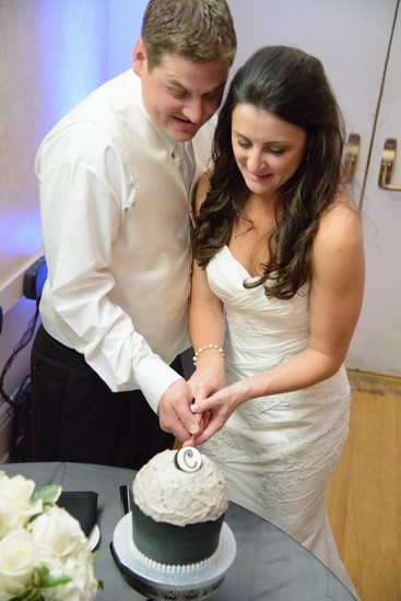 Bride and Groom Cut the Wedding Cake at SF Reception