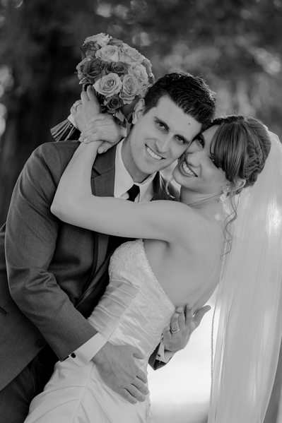 bride and groom bouquet black and white wedding photo