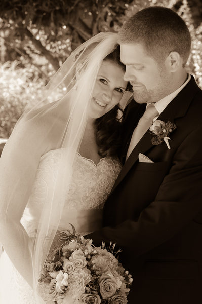 Sepia Tone Romantic Bride and Groom in Marin County