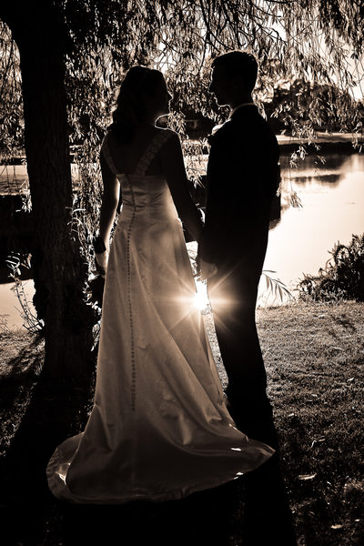 Sun Reflecting Water with Bride and Groom in San Ramon