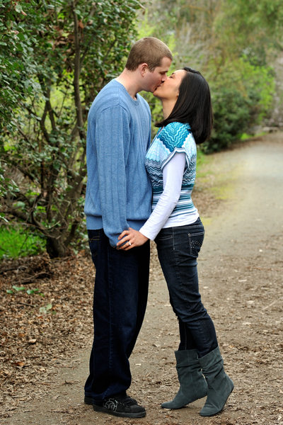 Engagement Portrait session  Kiss in the San Francisco Bay Area