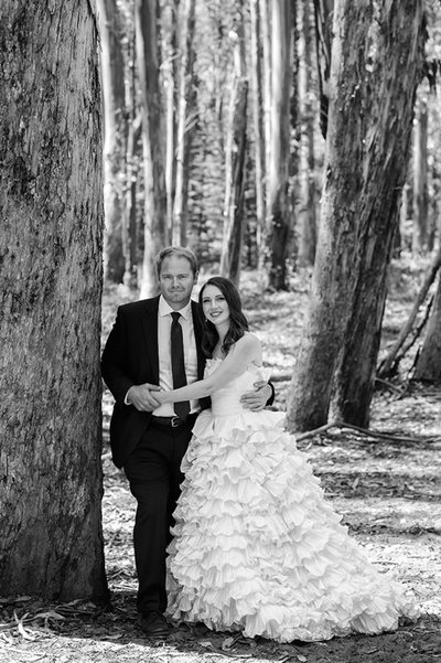 wood line wedding photo