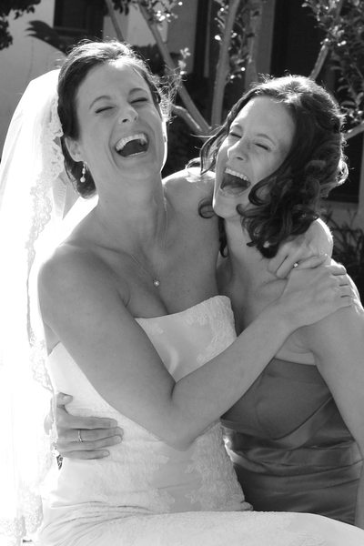 Twin Sisters Laughing together before the Brides Walnut Creek Wedding.