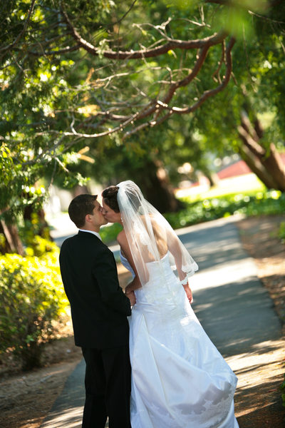 Wedding  Photography at Saint Mary's College in a Path of Trees