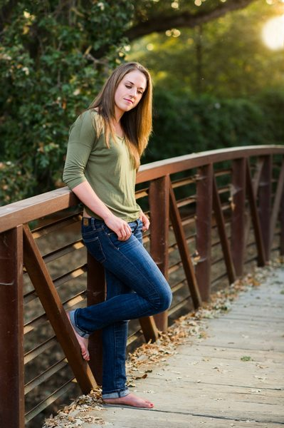 Bay Area Senior Portrait Session on a bridge in Clayton, California