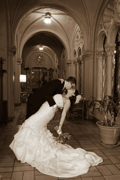 Berkeley City Club Wedding Photographer - Dance Dip Pose in Sepia Tone