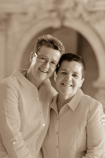 Sepia Tone Wedding Photography with Lesbian Brides at City Hall