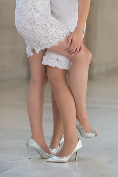 Lesbian Brides Romantic Legs - San Francisco Wedding Photography