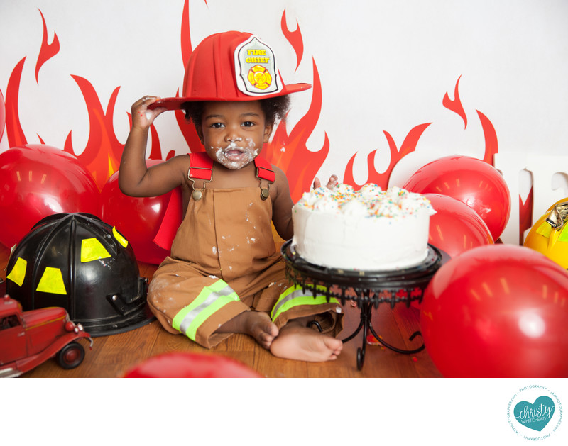 Fire fighter cake smash