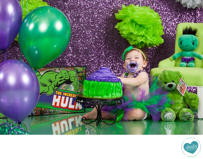 Little Girl Hulk Cake Smash Christy Whitehead Photography