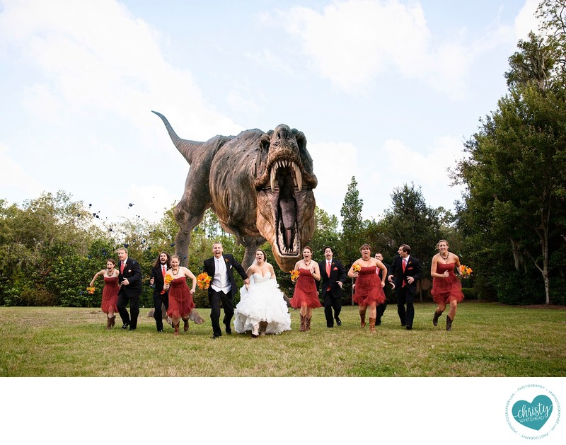 Dinosaur chasing wedding party at zoo