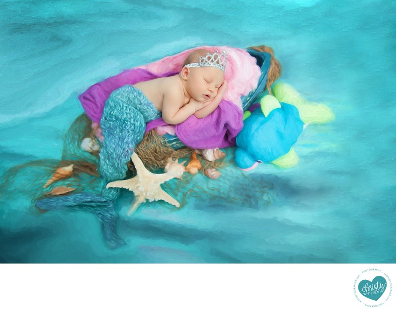 Little mermaid newborn in dreamy painted image