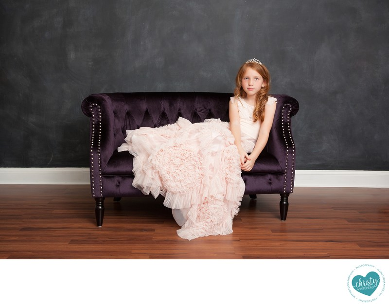 Little Girl With Black Chair & Pink Dress JAX