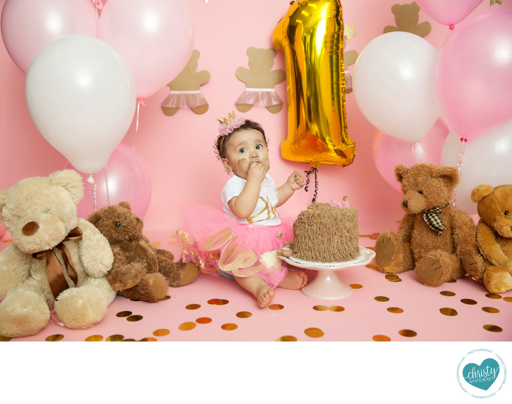 Baby Girl With A Teddy Bear Cake Photo Shoot