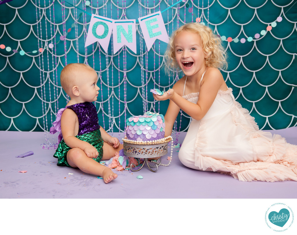 Big Sister & Little Sister With The Cake Photo Shoot