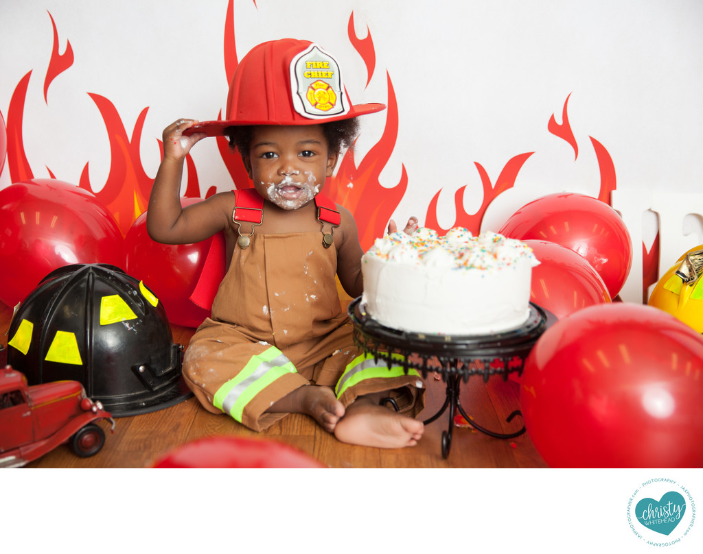 Fire fighter cake smash Christy Whitehead Photography