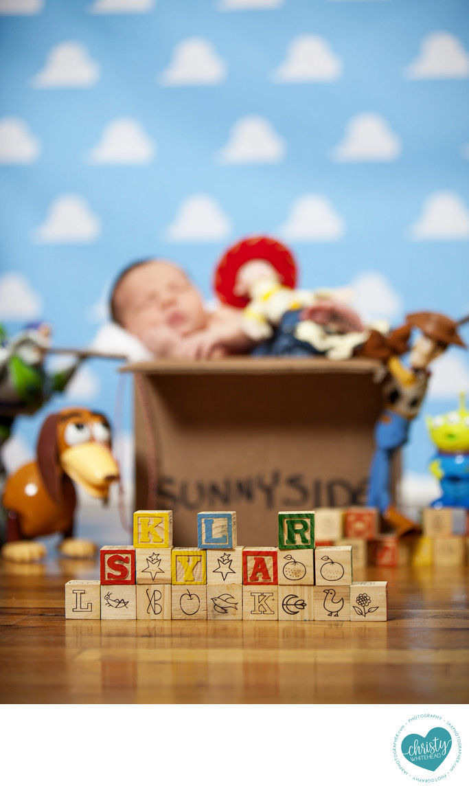 Skylar newborn Toy Story Session