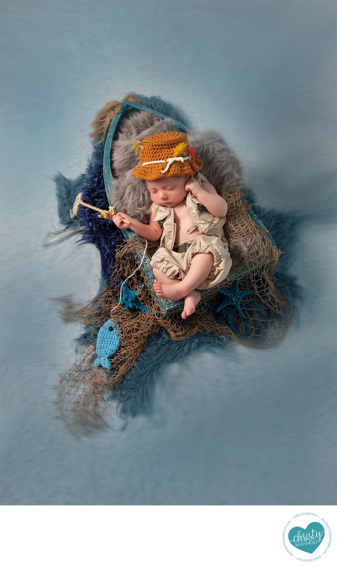 Little Fisherman Newborn Set With Boat