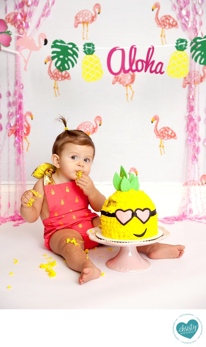 Baby With Her Pineapple Aloha Cake Christy Whitehead