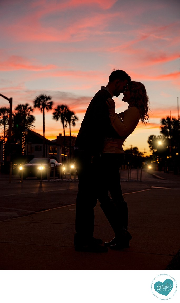 Couple Kissing Infront Of The Sunset Duval County