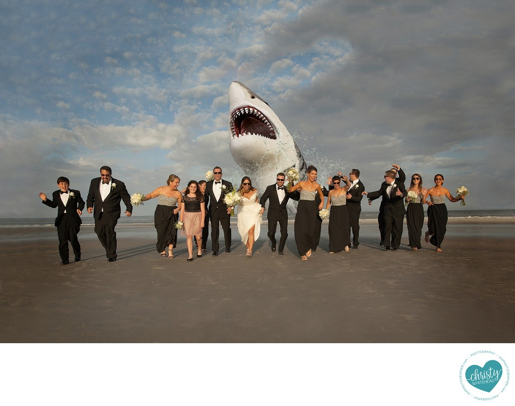 Shark chasing bridal party