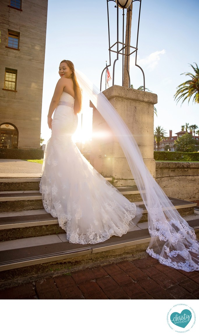 Formal bridal portrait at Lightner Museum