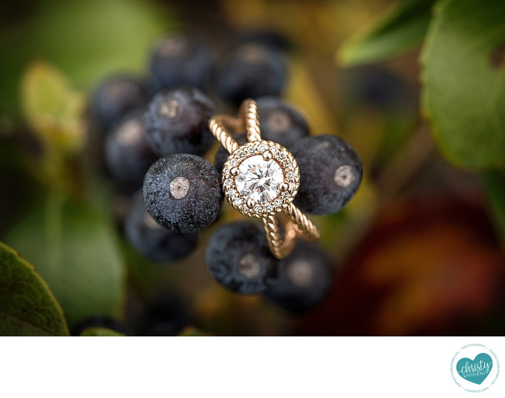 gorgeous engagement rings on berries