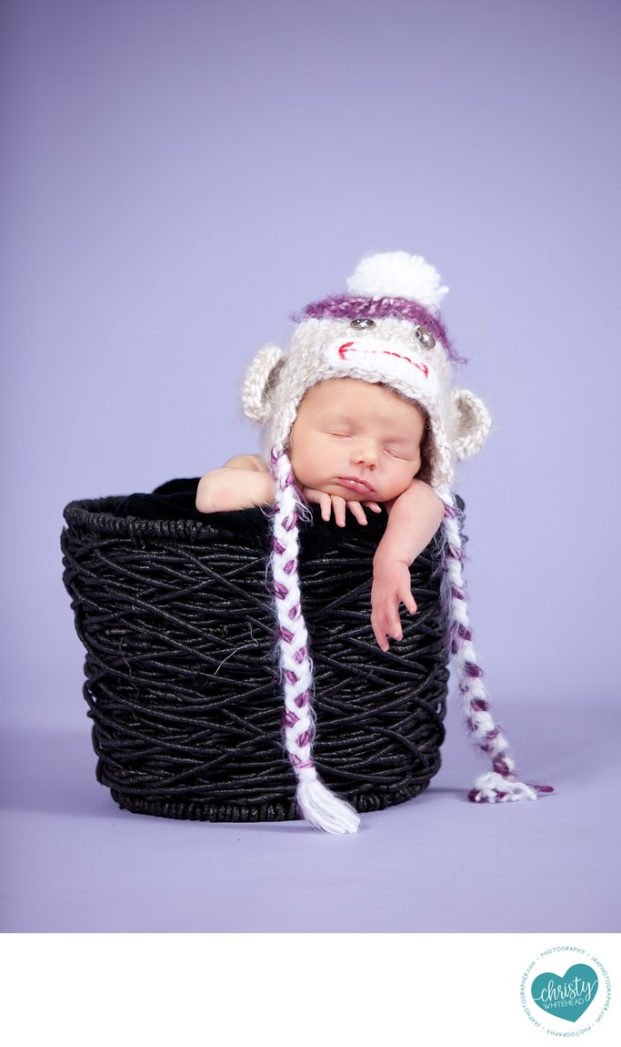 Pop Of Purple With This Little Sock Monkey Newborn JAX