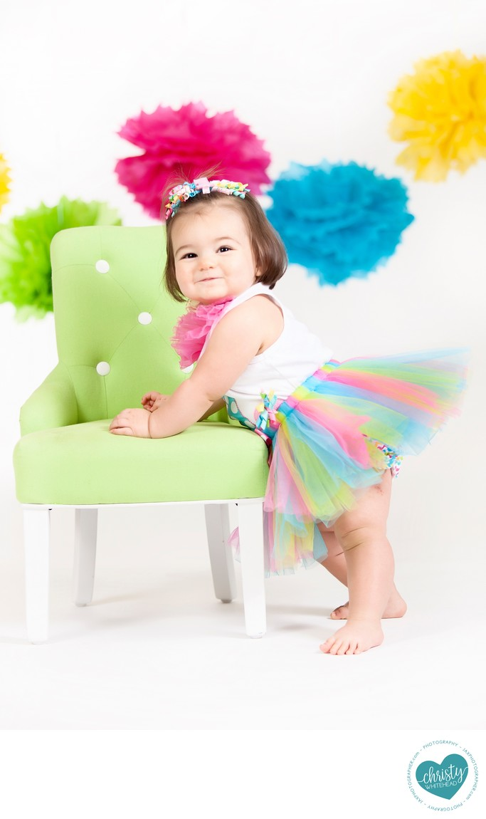 Formal colorful one year portraits