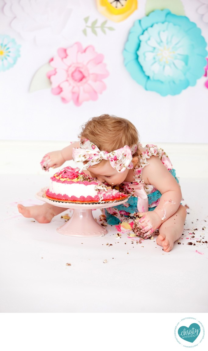 Baby Girl First into the Cake JAX Photography