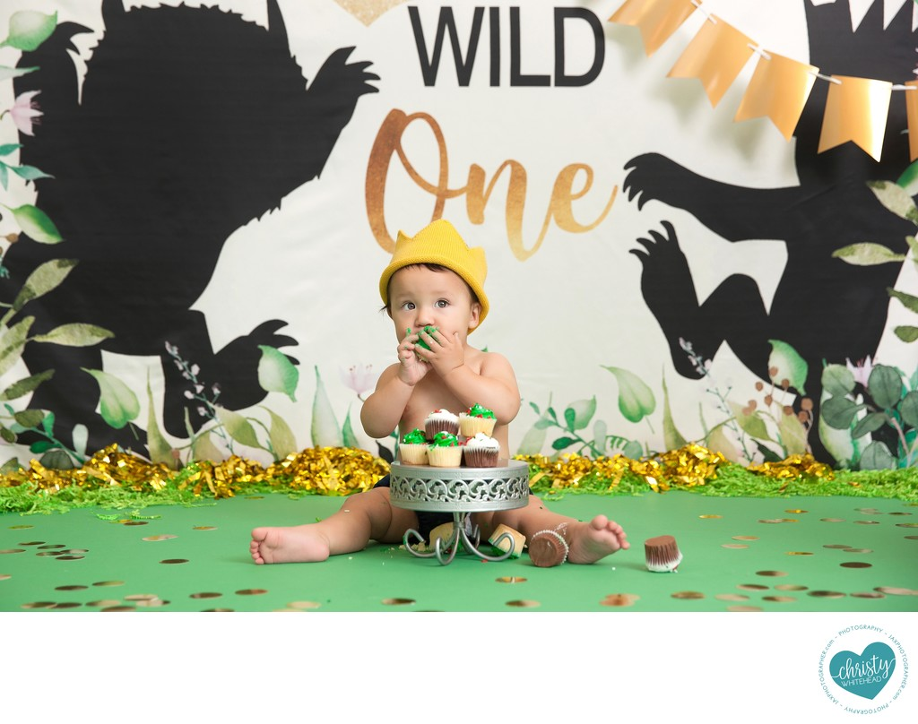 Baby Eating Cupcakes Photo Shoot JAX Florida